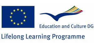 "Logo: European Flag, a blue bird sailing in the wind beside and the title of the research program ""education and culture dg lifelong learning programme"" below"